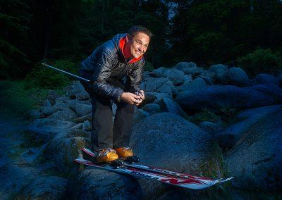 Skifahrer im Felsenmeer bei Reichenbach im Odenwald